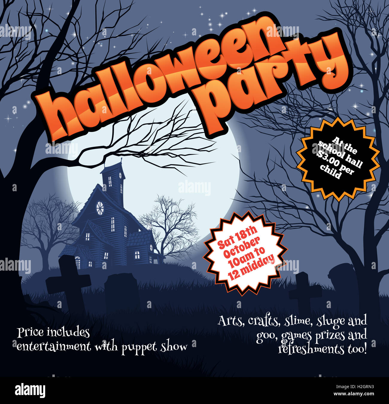 A Halloween party flyer leaflet with a spooky haunted house and ...