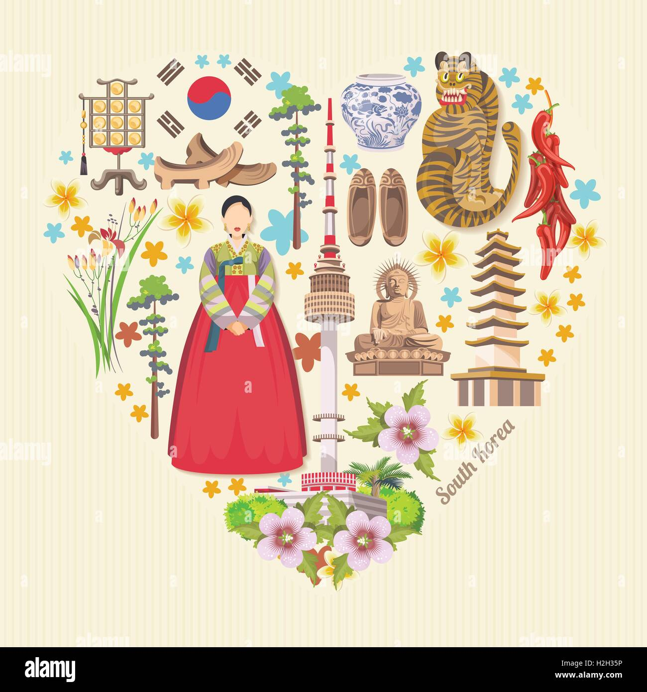 Korean poster design - South Korea Travel Vector Poster With Pagodas And Traditional Signs Korea Journey Card With Korean