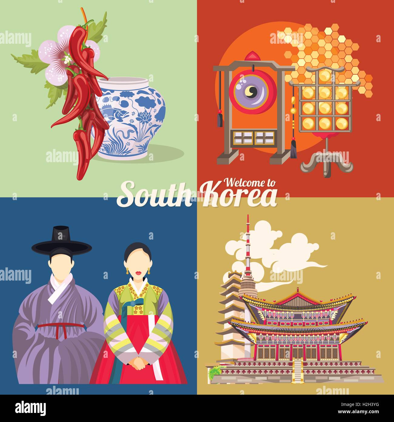 south korea travel vector poster with pagodas and