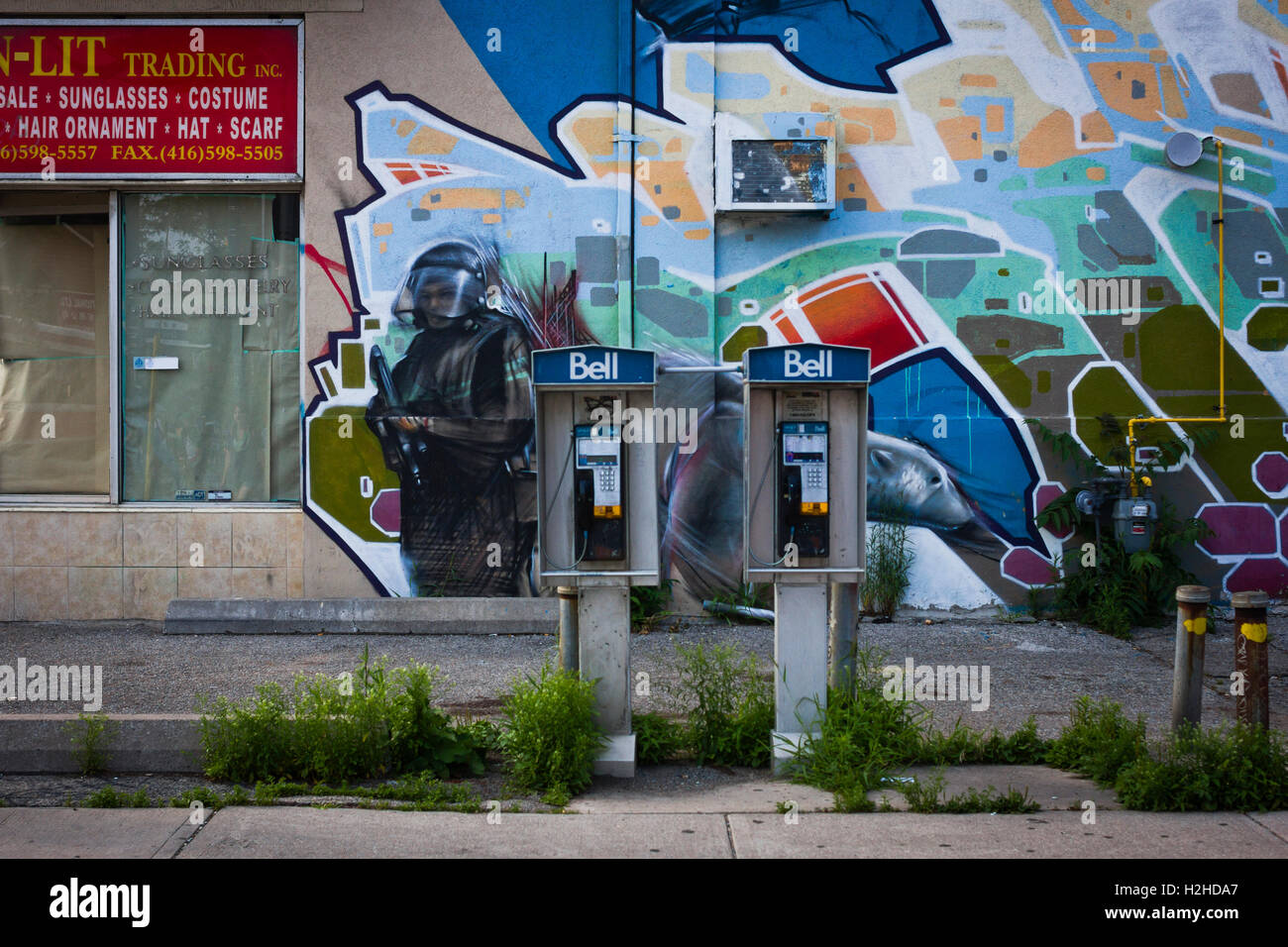 Graffiti art for sale canada - Public Telephone Boxes In The Chinatown Area Of Toronto Canada