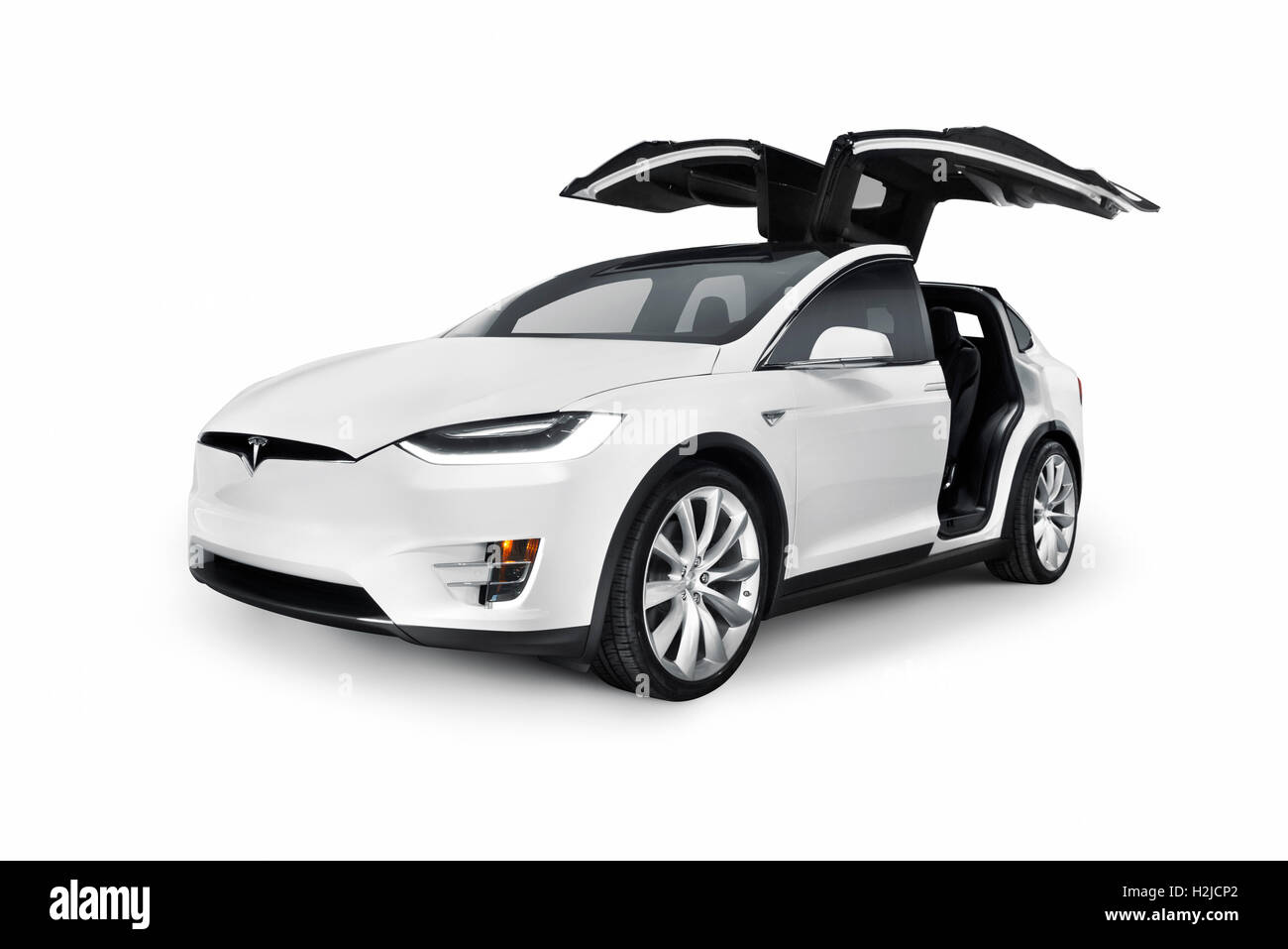 White Tesla Model X Luxury Suv Electric Car With Open Falcon