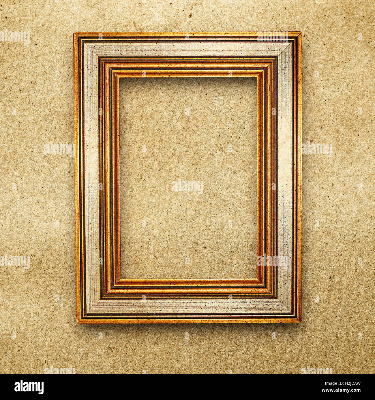 vintage wood frame background on grunge paper texture Stock Photo