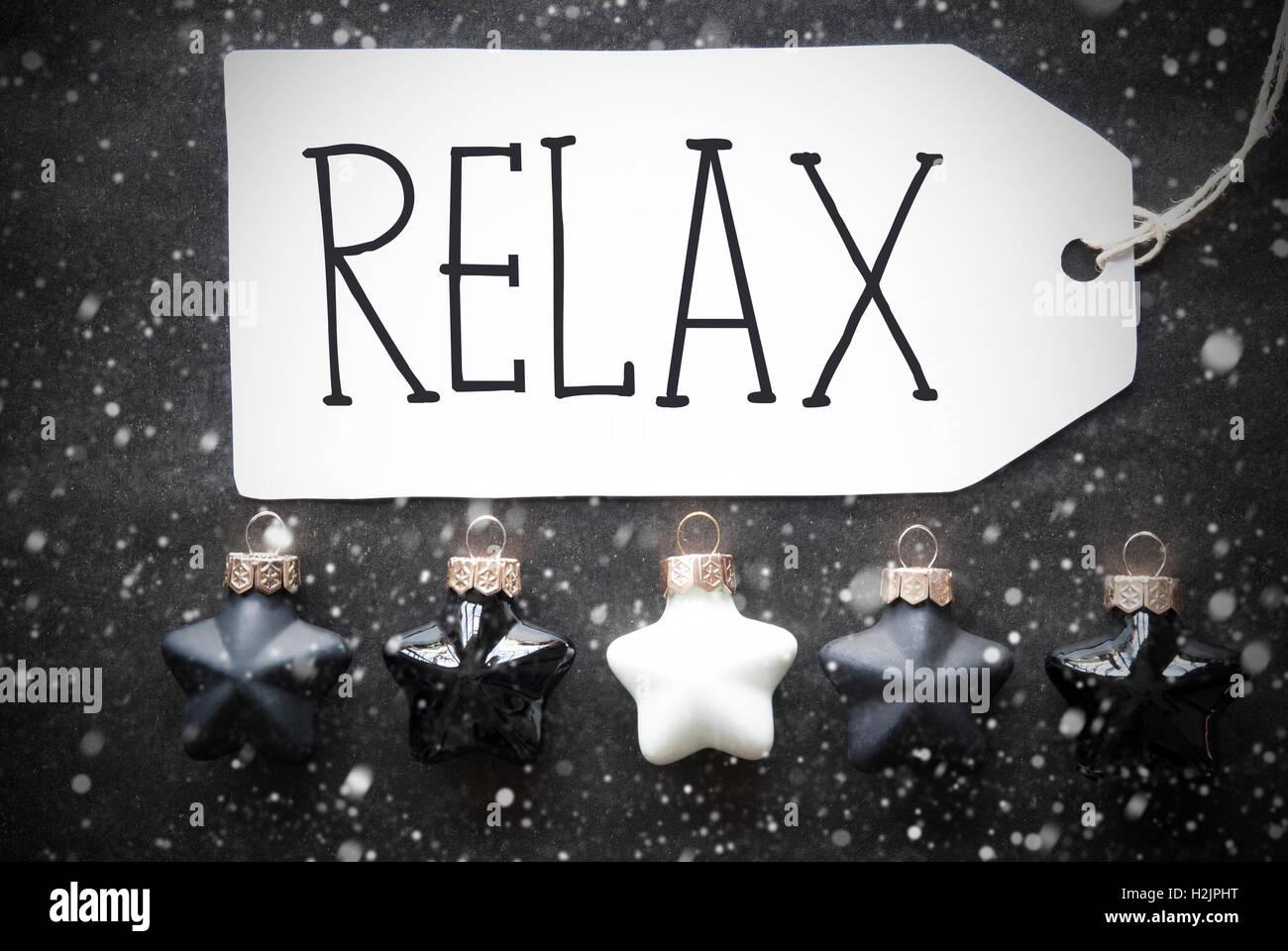 Black Christmas Balls, Snowflakes, Text Relax Stock Photo, Royalty ...