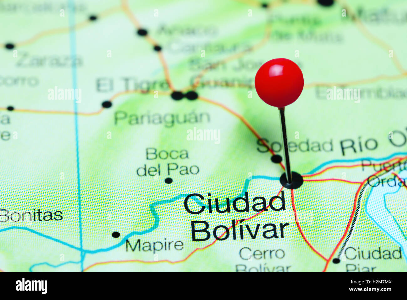 Ciudad Bolivar pinned on a map of Venezuela Stock Photo Royalty