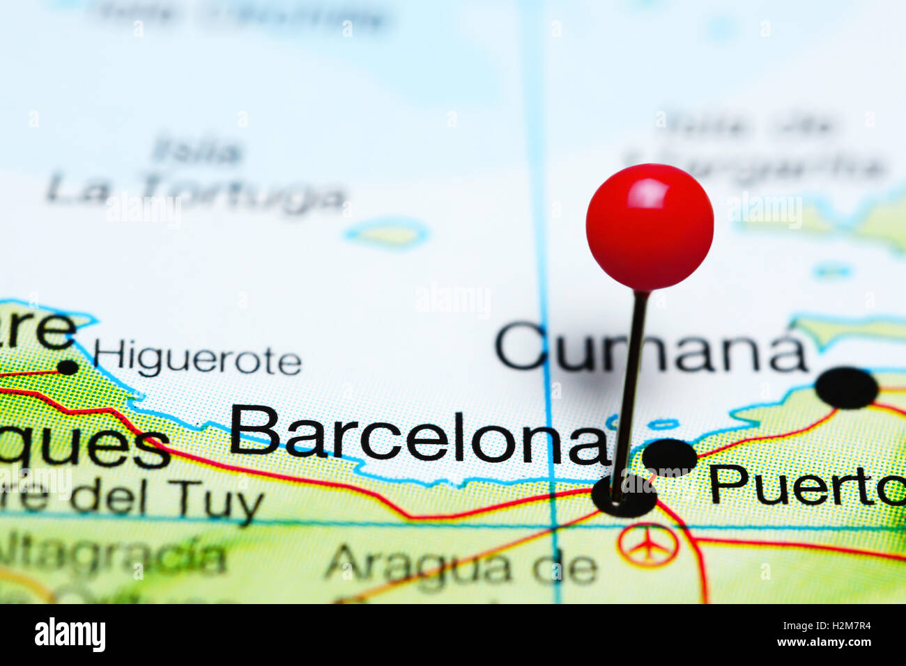 Barcelona pinned on a map of Venezuela Stock Photo Royalty Free