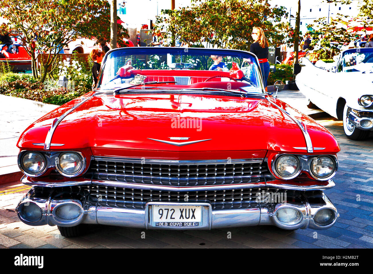 1950\'s Red Cadillac Convertible at Vintage Classic Car Boot Sale ...