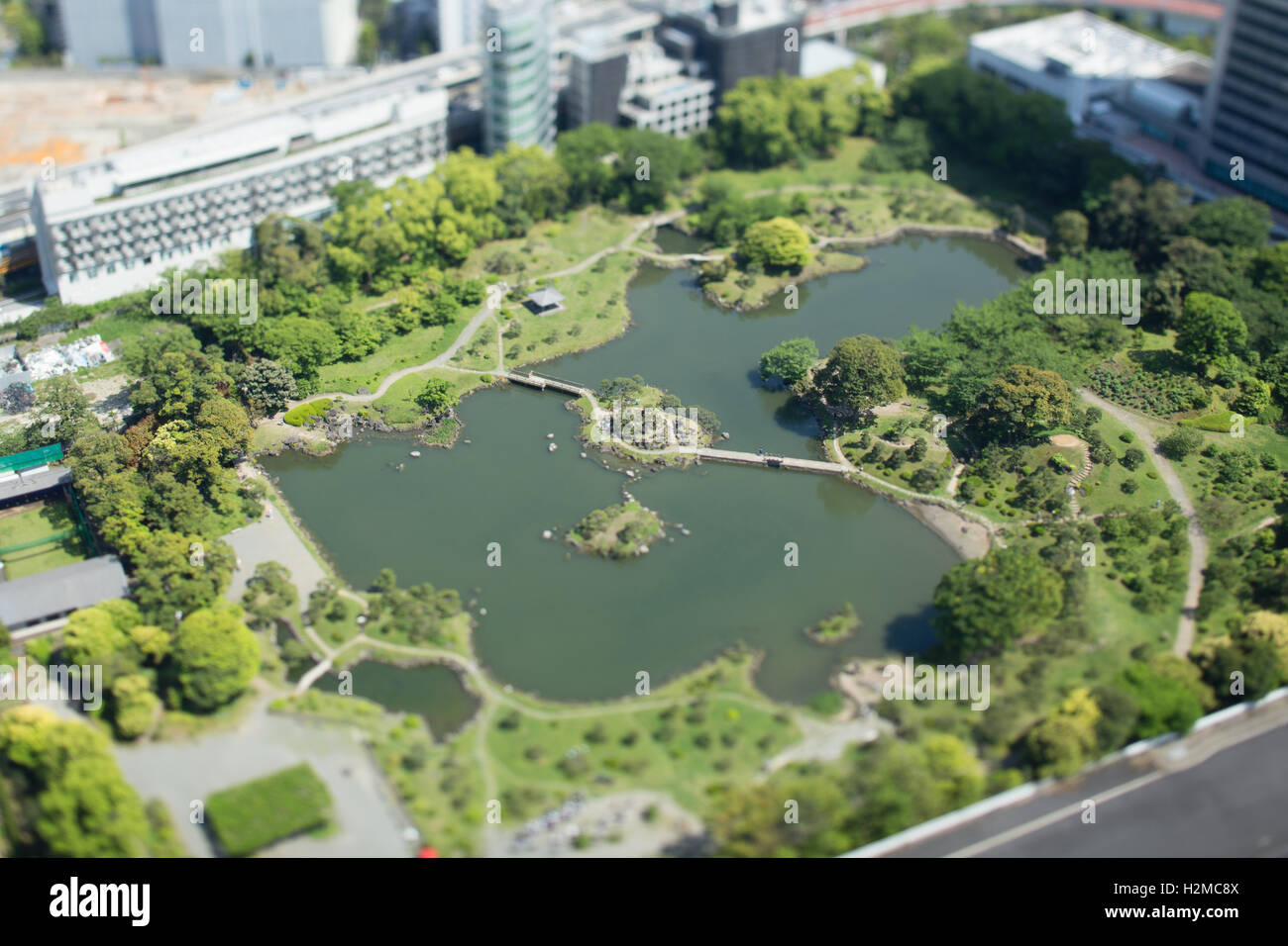 tilt shift birds eye view of old shiba rikyu garden tokyo japan - Garden Design Birds Eye View