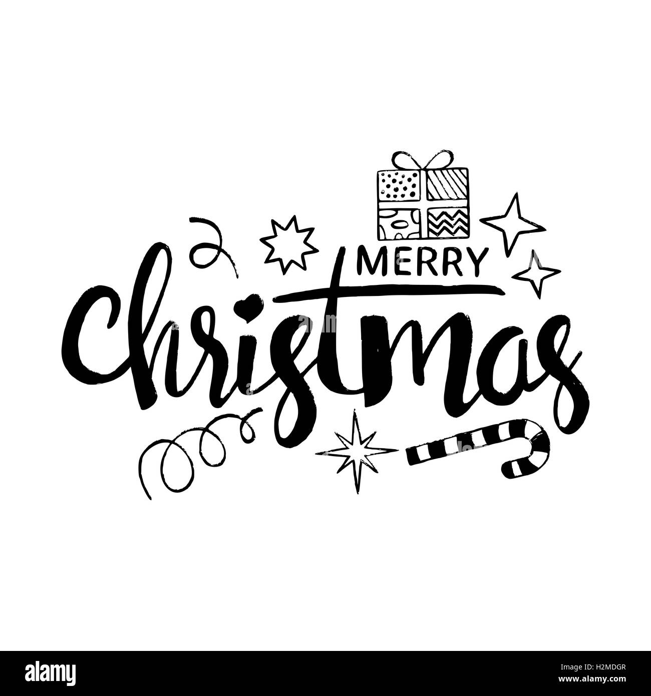 Merry Christmas Lettering Modern Vector Hand Drawn