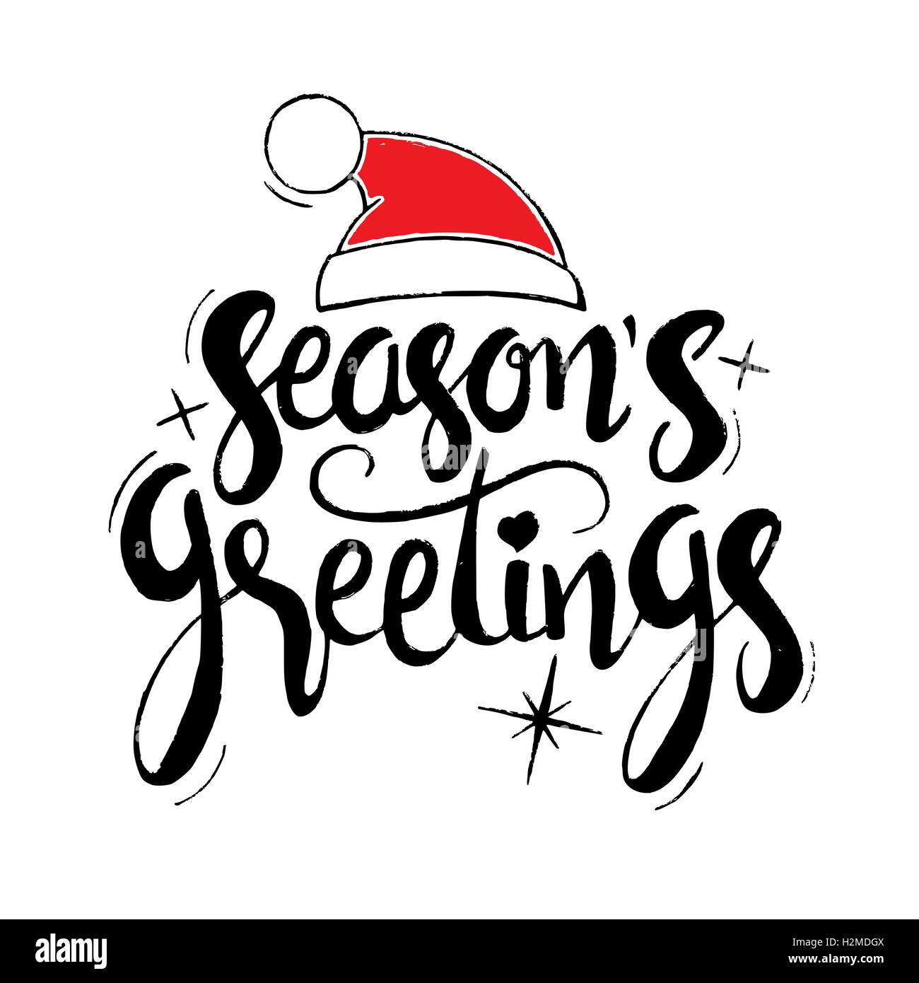 Seasons greetings lettering modern vector hand drawn calligraphy seasons greetings lettering modern vector hand drawn calligraphy with santa claus red hat and stars kristyandbryce Images