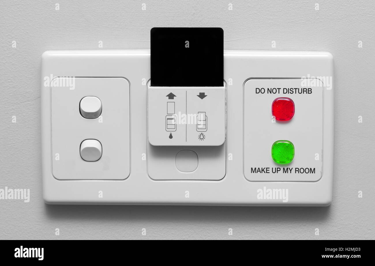 hotel room electric switches with card Stock Photo: 122155407 - Alamy