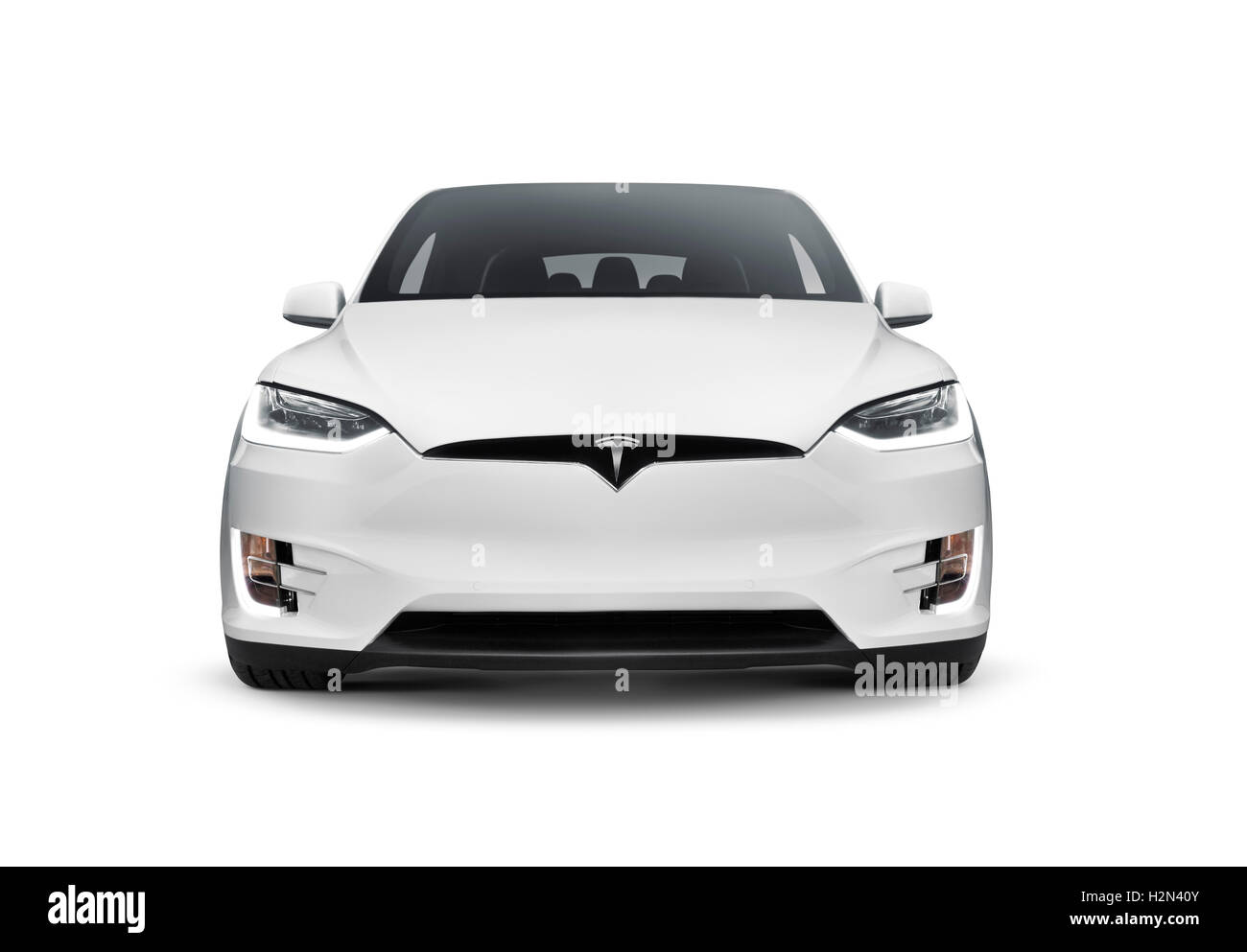 White Tesla Model X Luxury Suv Electric Car Front View