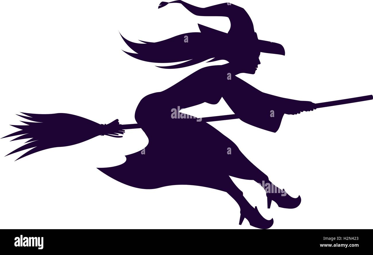 silhouette witch flying on broom halloween symbol vector - Flying Halloween Witch