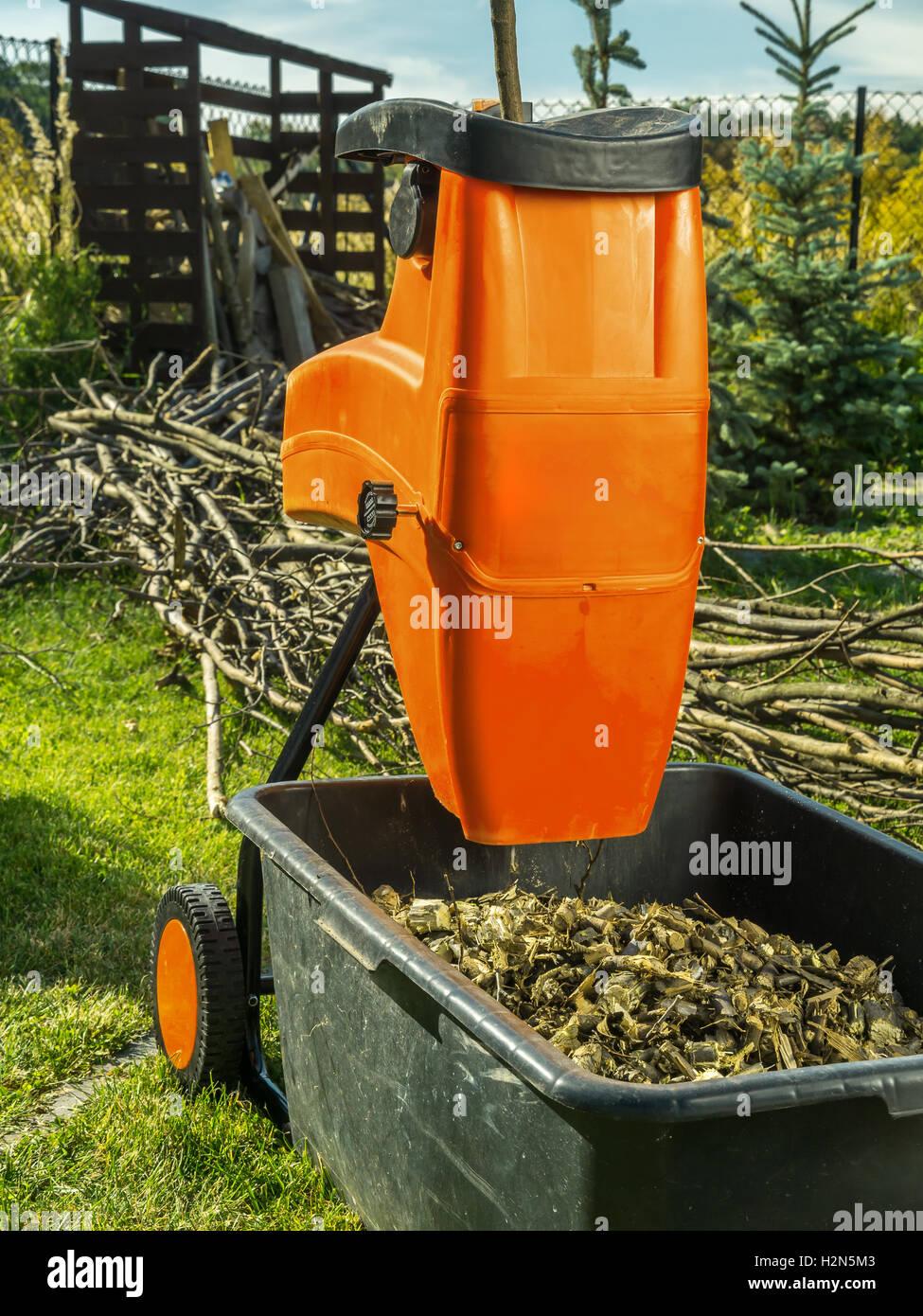 garden mulcher. Electric Wood Shredder With Chips Used For Garden Mulching Mulcher R