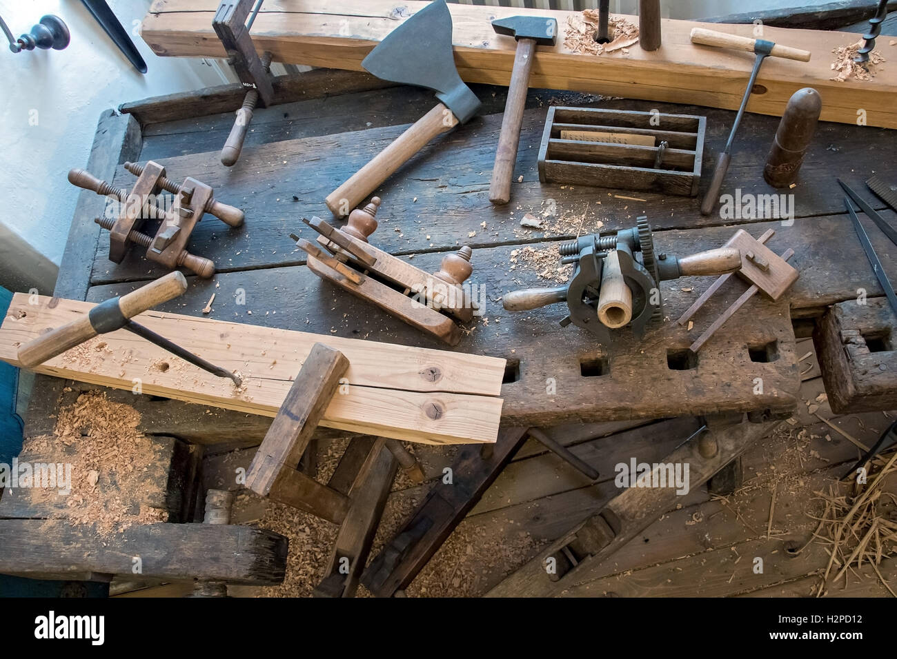 Old carpentry workshop with obsolete tools used Vintage