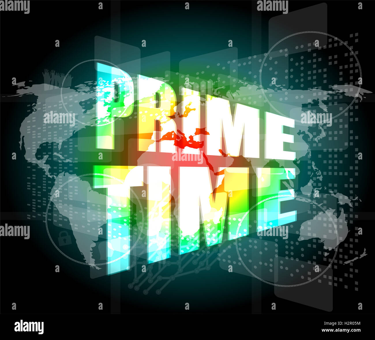 Prime time words on digital screen background with world map stock prime time words on digital screen background with world map gumiabroncs Choice Image