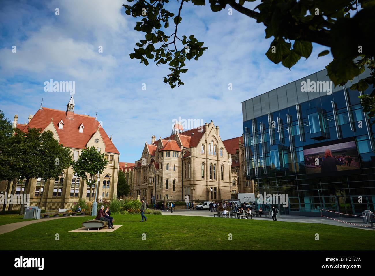 manchester university historic buildings architecture quad stock