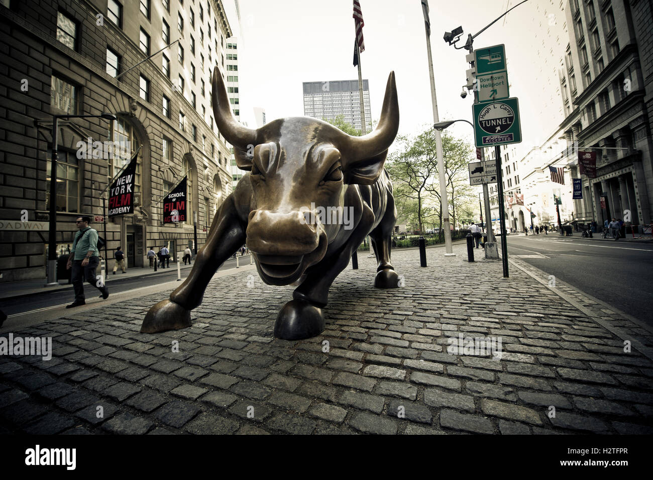 Wall Street Bull Art charging bull statue, aka wall street bull, new york stock photo