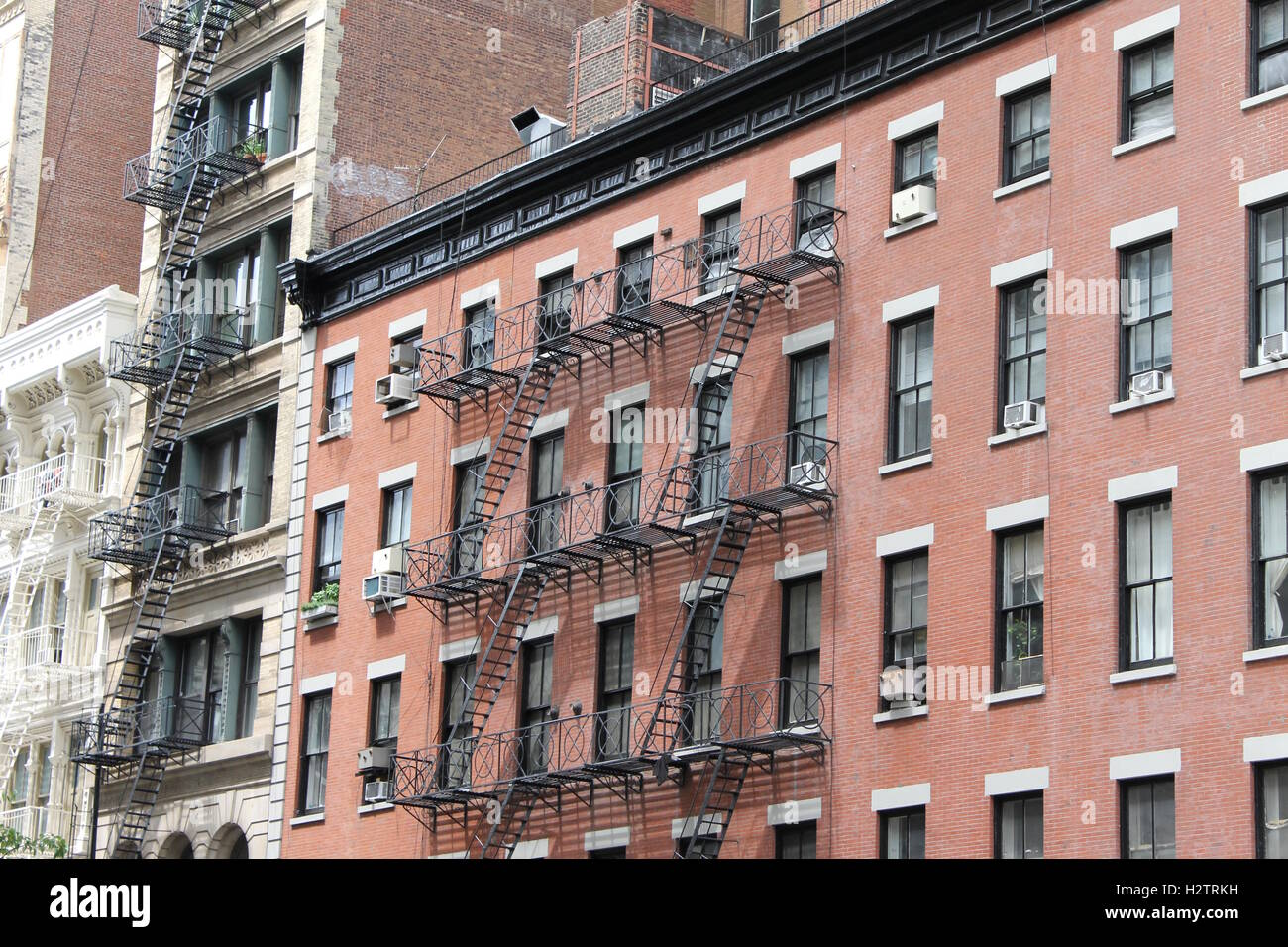 modern brick apartment building. Modern red brick apartment building in New York City Stock Photo