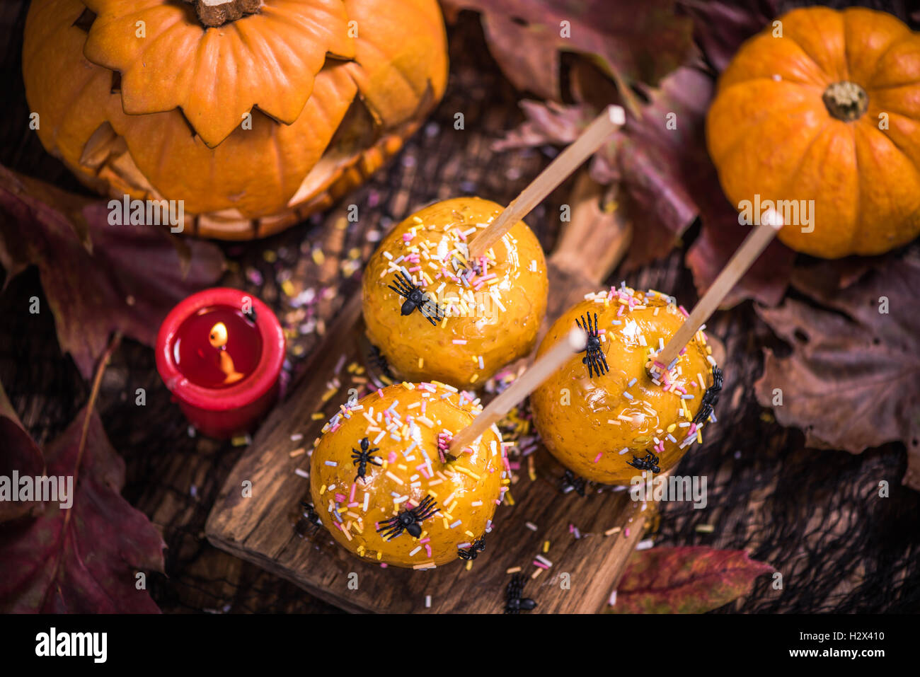 halloween kids party food and treats, apple candy in caramel Stock ...