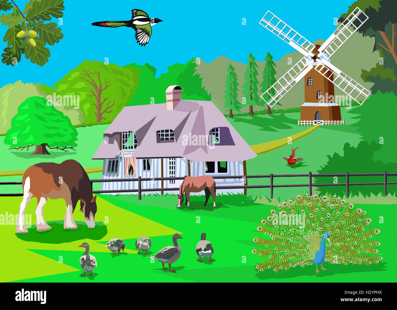 French Landscape Of Farmhouse With Animals Computer Art