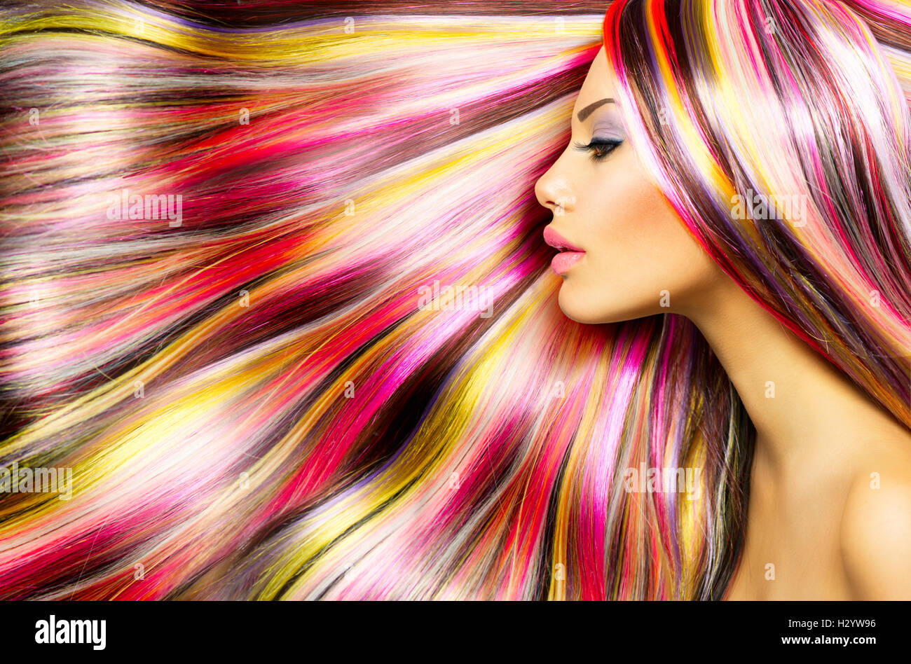 Beauty Fashion Model Girl with Colorful Dyed Hair Stock Photo ...