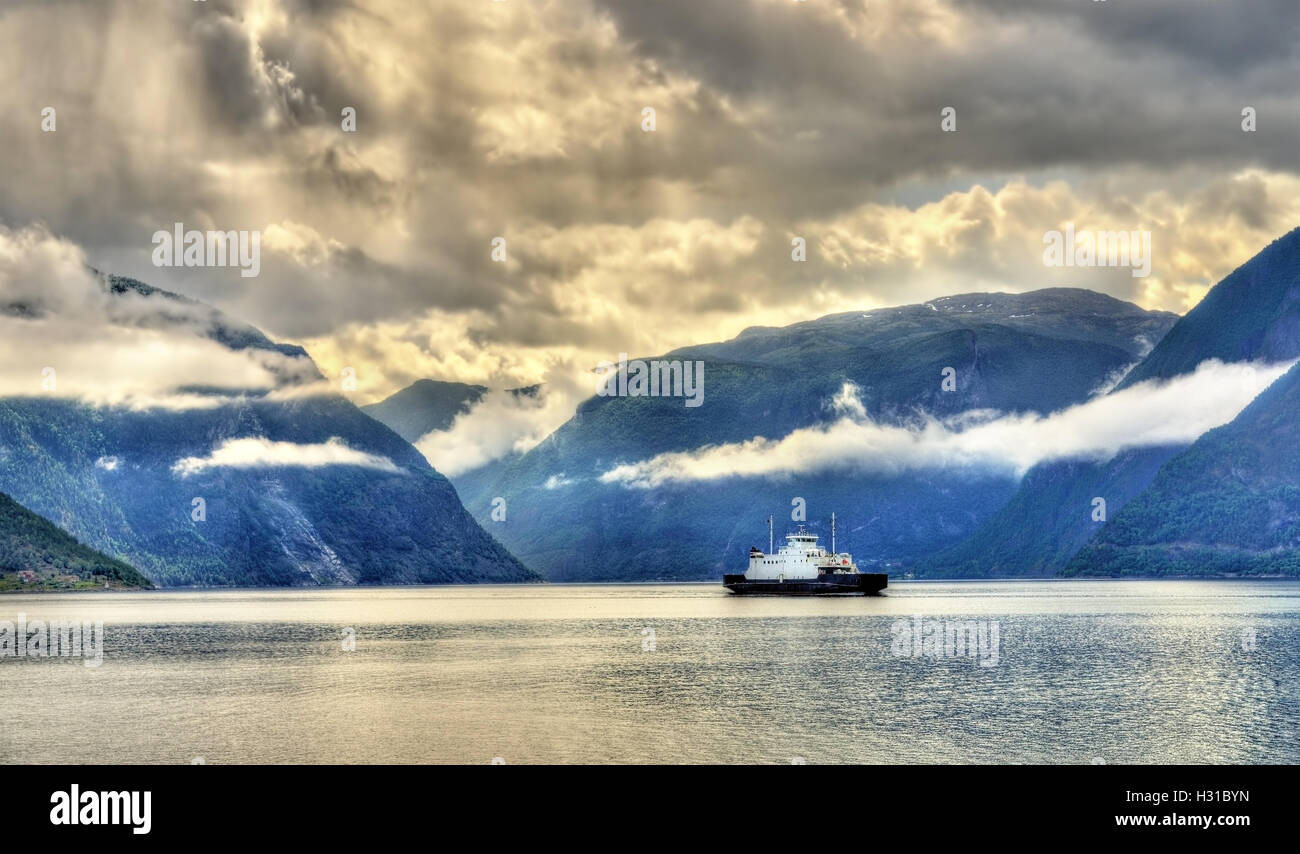 Car ferries sognefjord norway - Ferry Mannheller Fodnes Crossing The Sognefjord In Norway Stock Image