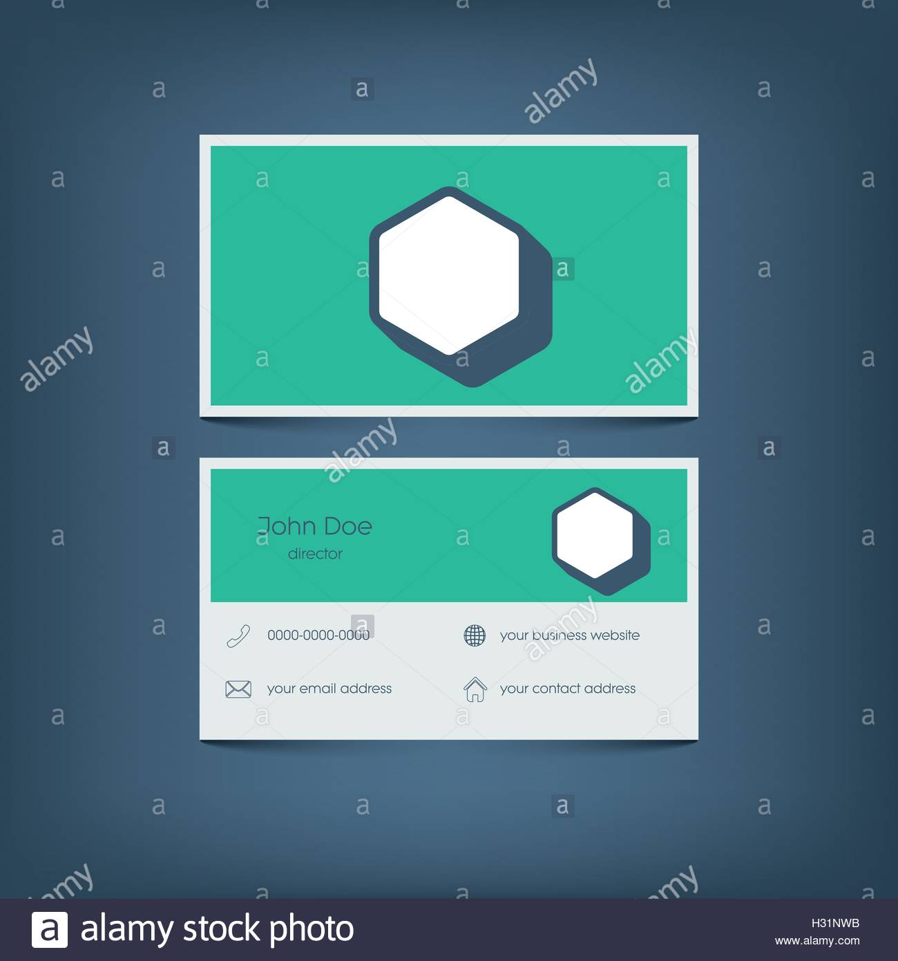 Modern Flat Design Business Card Template Graphic User Interface - Website business card template