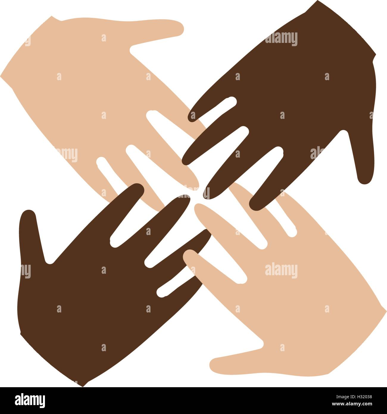 Isolated abstract four brown and white skin human hands together isolated abstract four brown and white skin human hands together logo anti racism logotype international friendship sign equal people symbol biocorpaavc Images