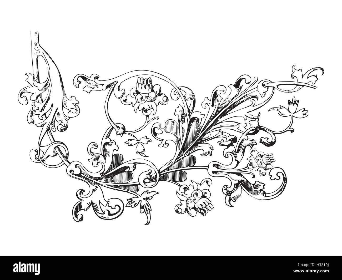 Hand Drawn Illustration Of Twig With Flowers And Leaves Baroque Vector Whimsical Vegetal Ornament For Coloring Book B