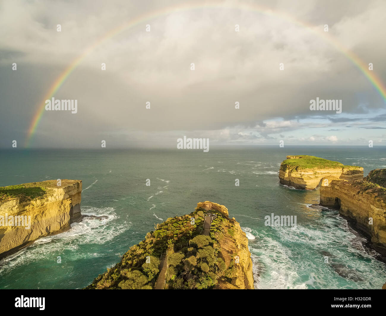 aerial view of rainbow after the rain over mutton bird island