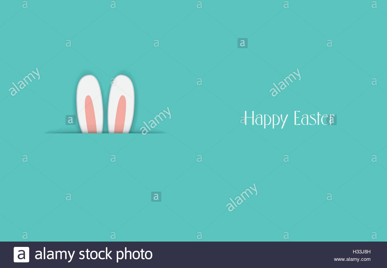 Adorable Happy Easter postcard template with bunny hiding and ears – Easter Postcard Template