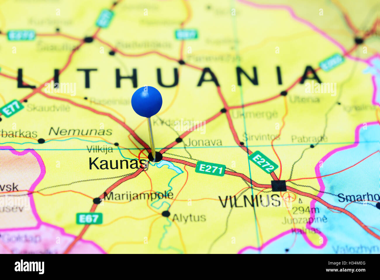 Kaunas Pinned On A Map Of Lithuania Stock Photo Royalty Free - Kaunas map