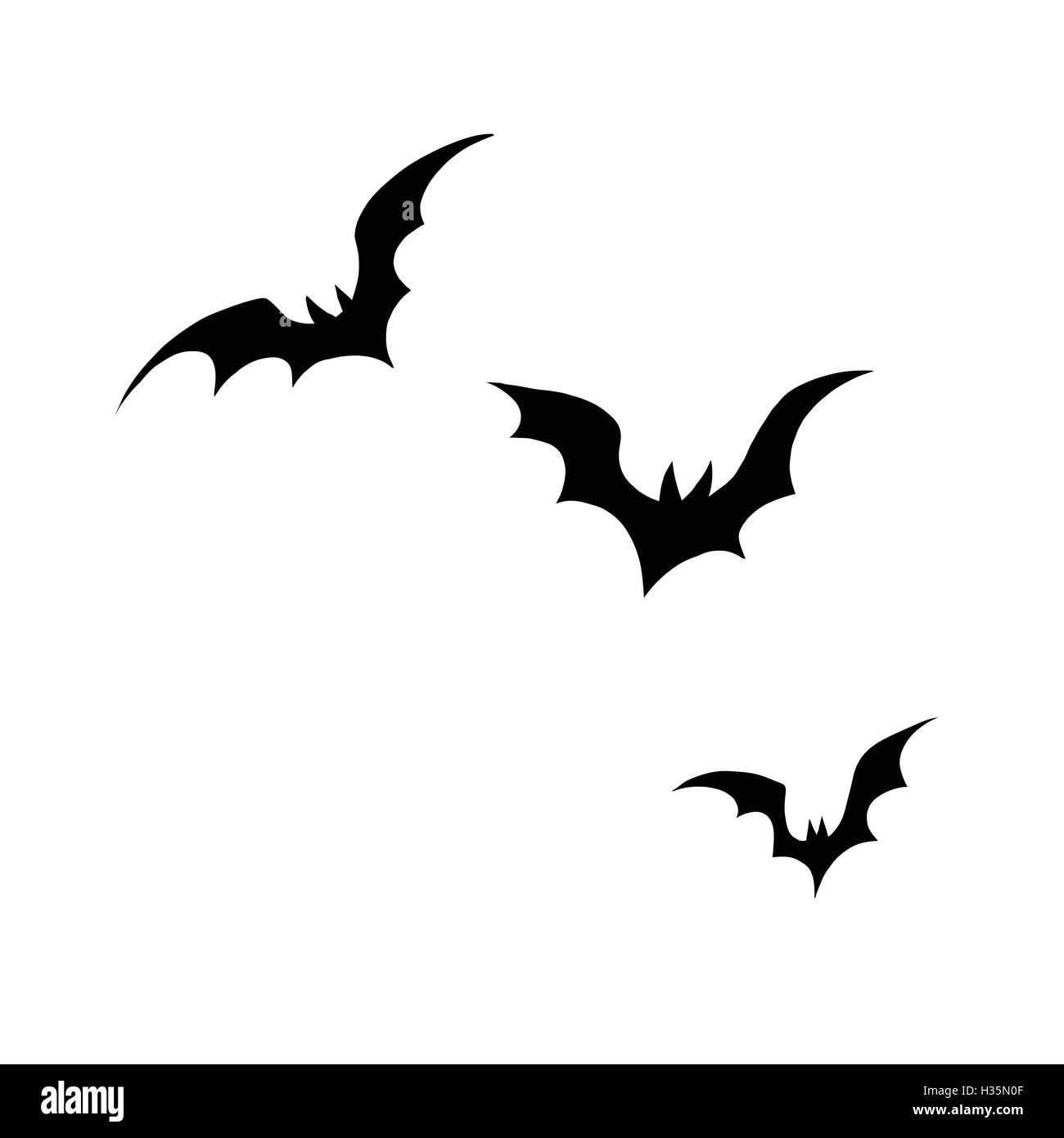 black silhouettes of bats on a white background stock vector art