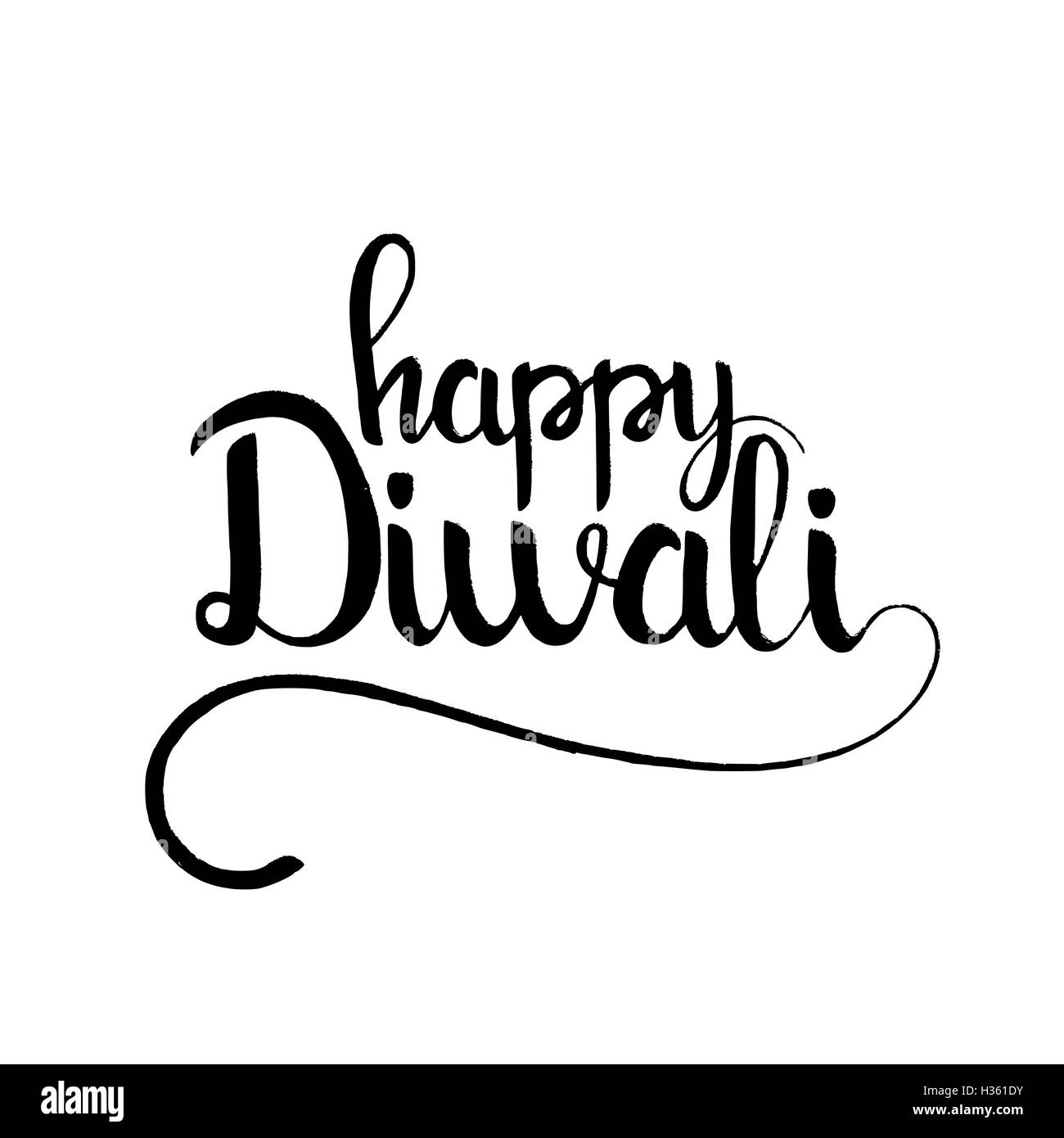 Happy diwali lettering modern vector hand drawn