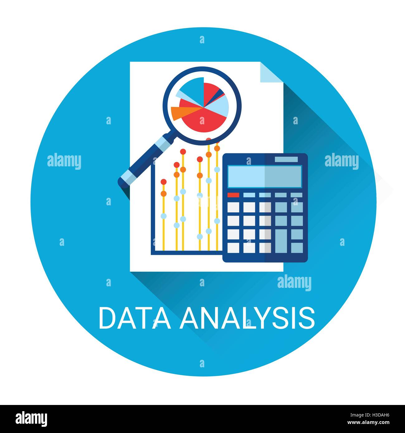 Data Analysis Icon Financial Graph With Magnifier ...