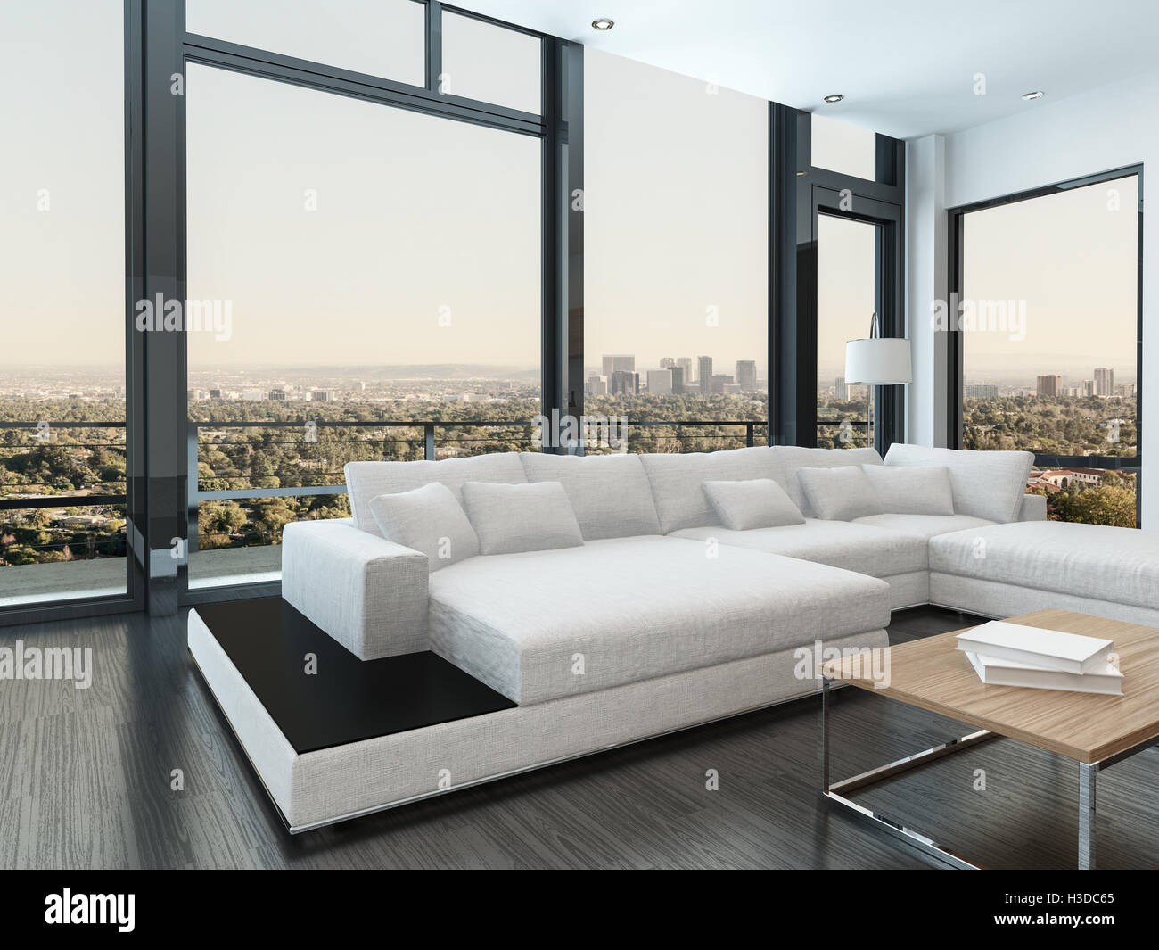 Large Comfortable White Modern Modular Lounge Suite In A Spacious Living Room Interior With Floor