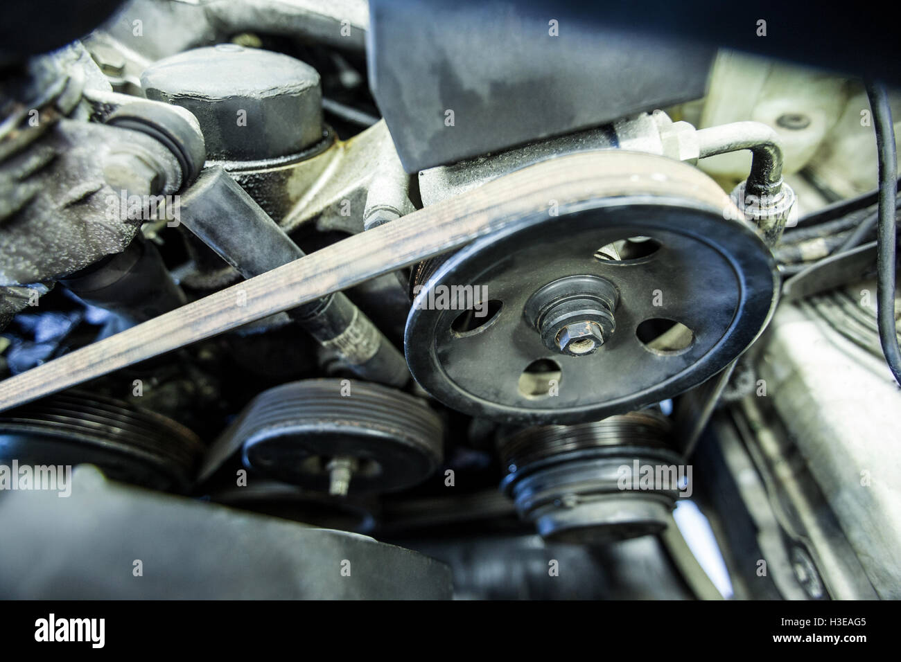 Close-up of car engine and components Stock Photo, Royalty Free ...