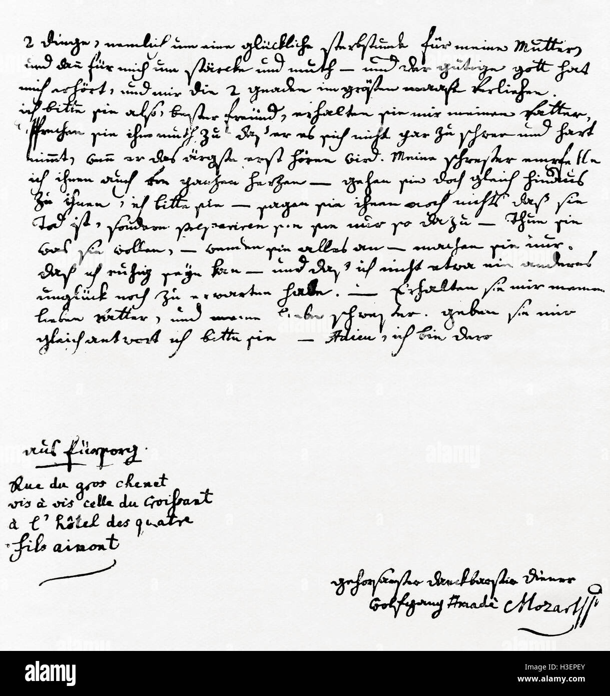 Mozart Lettere: Letter Written By Mozart On The Death Of His Mother In