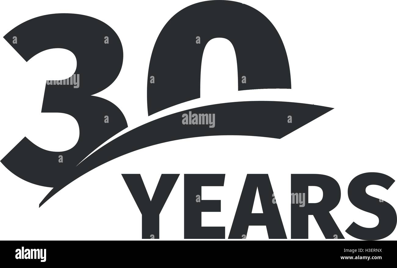 Isolated abstract black th anniversary logo on white background