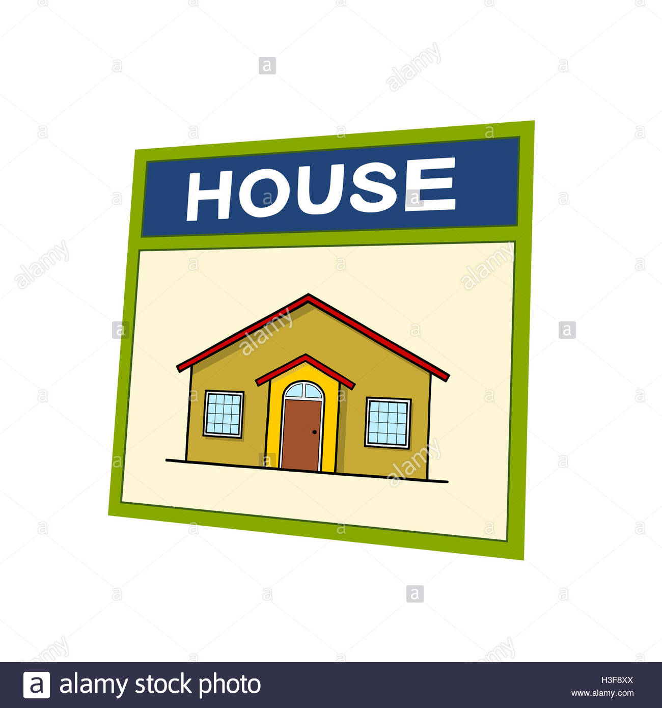 house drawing house word vocabulary learning illustration Stock ...