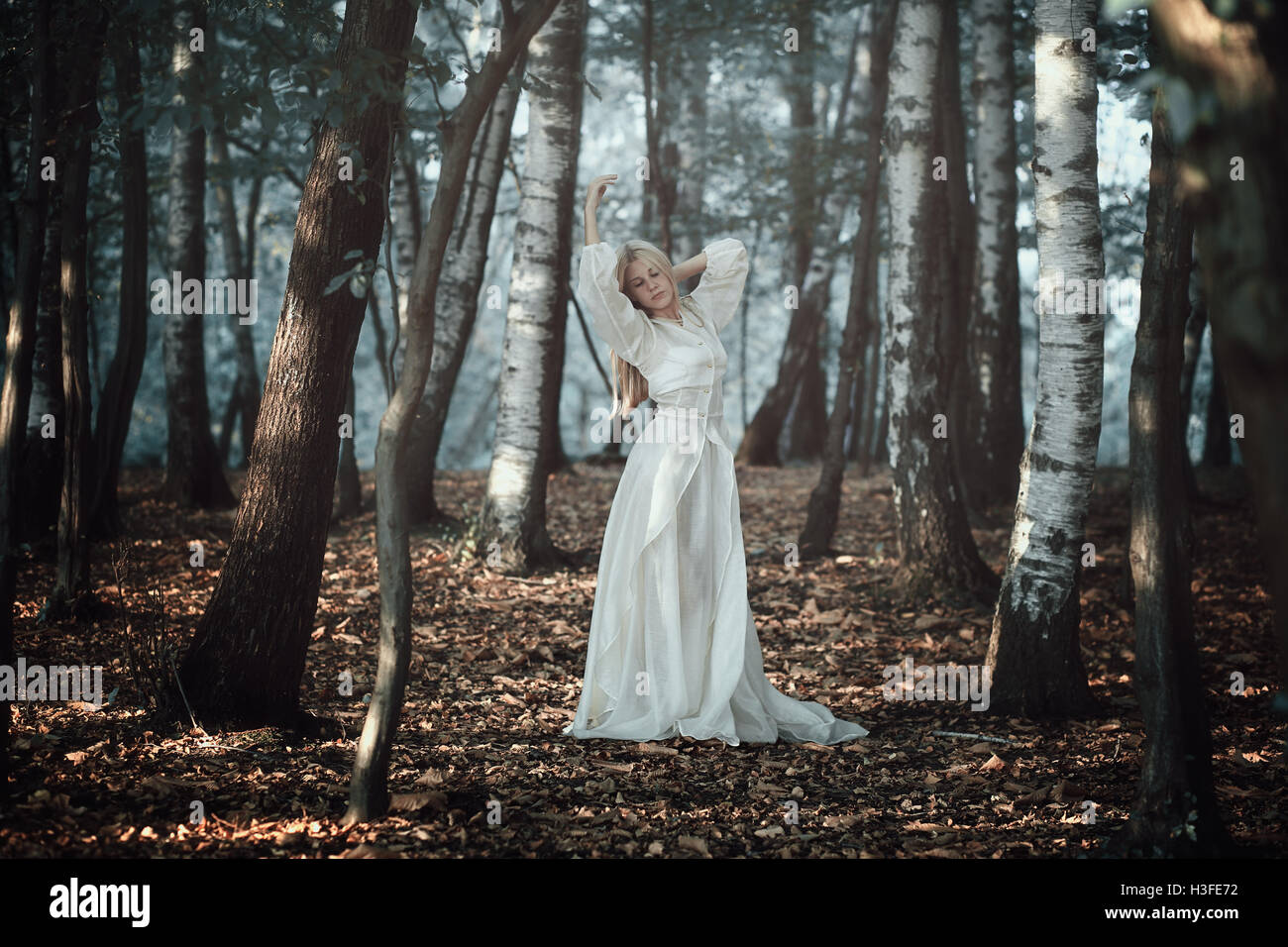 Beautiful Woman Dancing In Ethereal Forest . Fantasy And ...