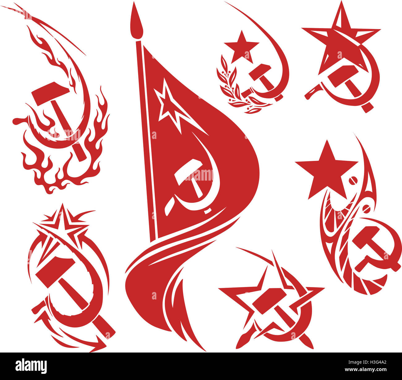 Communist symbols flag stock photos communist symbols flag stock set of red color soviet symbols with stars flags and sickle and hammer stock biocorpaavc