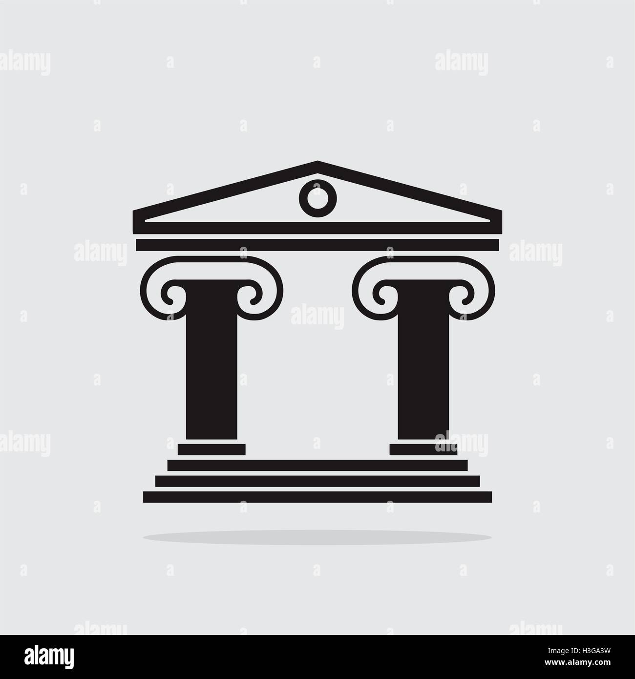 Vector Black And White Icon Of Ancient Greek Architecture Building With Columns