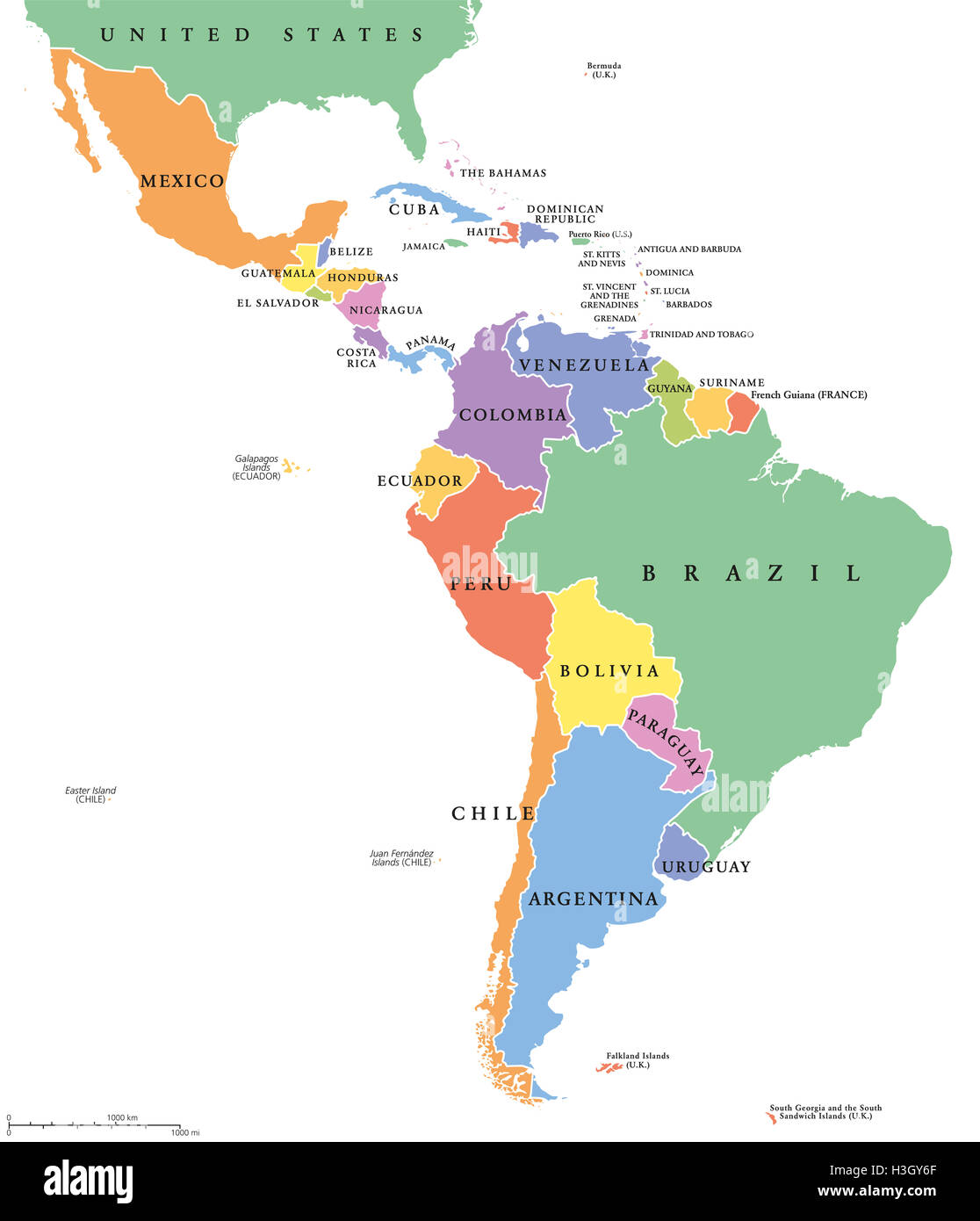 Latin america single states political map countries in different latin america single states political map countries in different colors with national borders and english country names gumiabroncs Choice Image