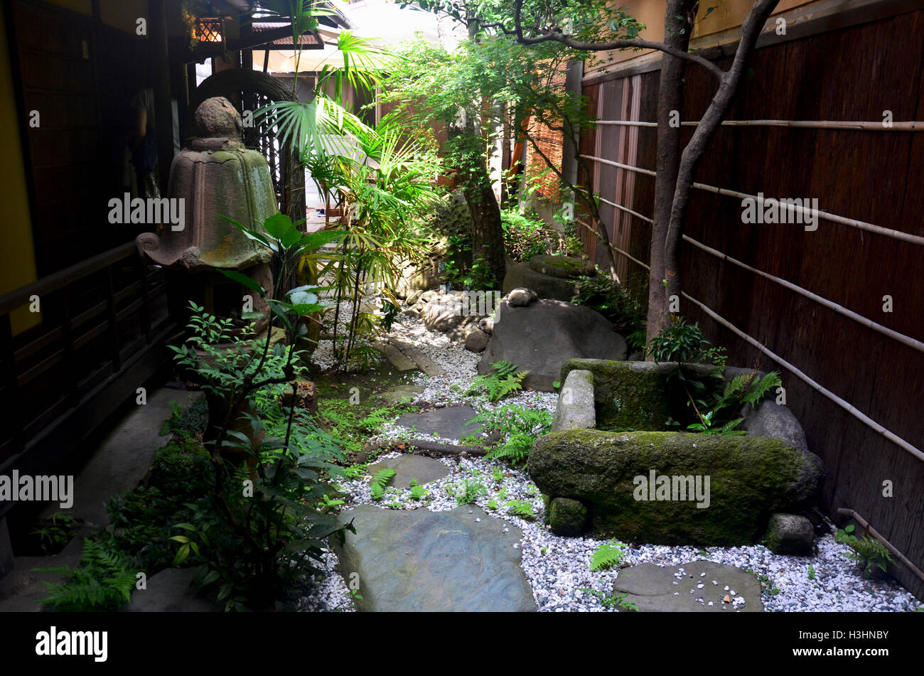 small garden japanese style of local house in kyoto japan stock