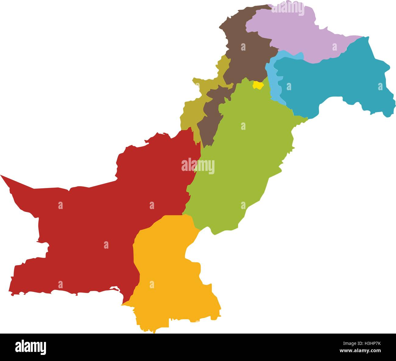 Pakistan Map With All States And Provinces Stock Vector Art - Pakistan map