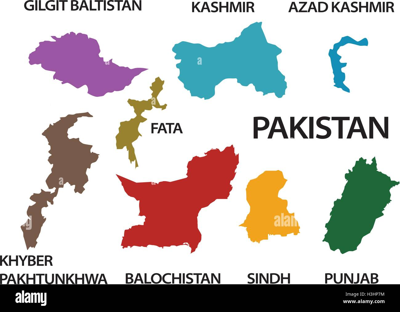 Pakistan Map With All States And Provinces Stock Vector Art - Map of all states