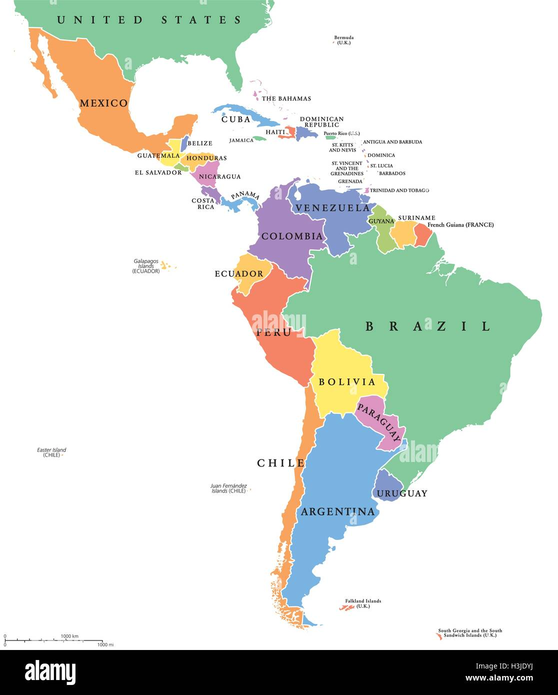 Latin America Single States Political Map Countries In Different - World map political with country names