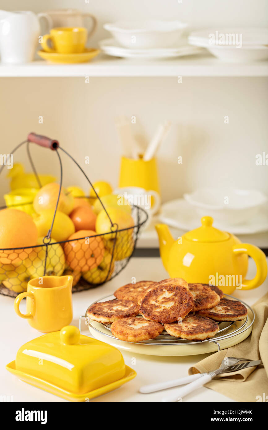 Cottage Cheese Pancakes With Tea And Lemon. Selective Focus