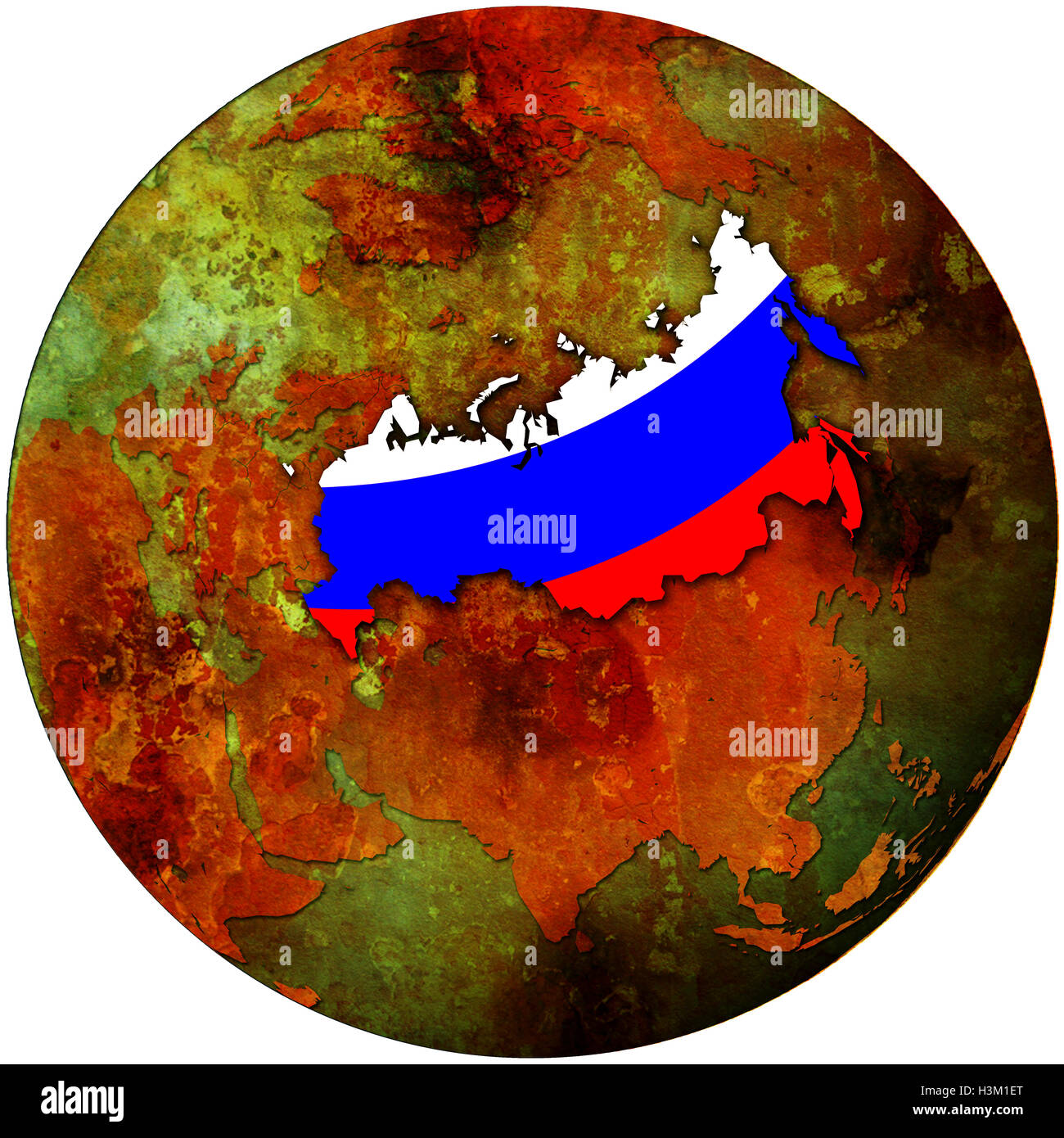 Russia flag on map of earth globe stock photo royalty free image russia flag on map of earth globe gumiabroncs Images